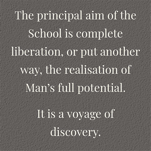 Principal aim of the school is complete liberation, or to realise man's full potential.